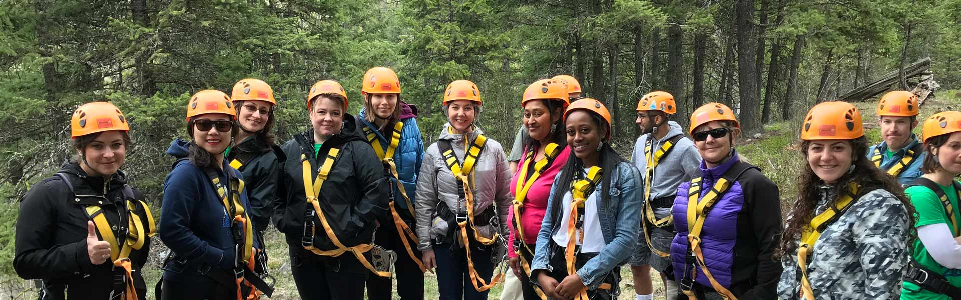 A group of people on a zip line adventure