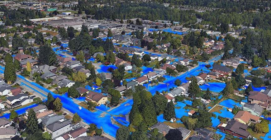 Flooding simulation in an urban environment