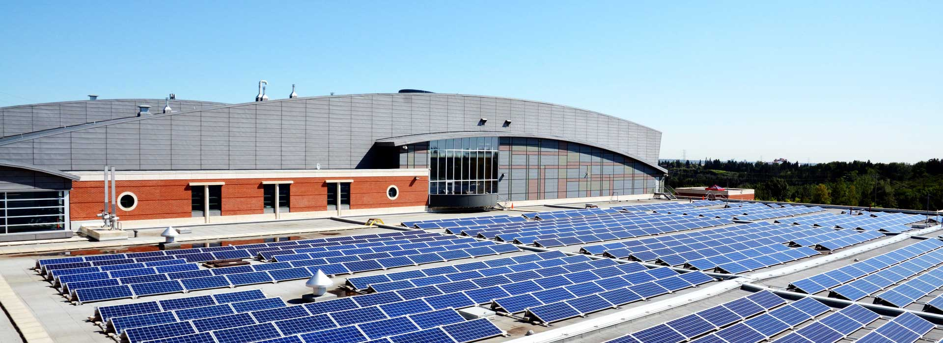 A building with solar panels